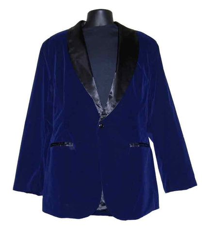 Velvet-Navy Blue Smoking Jacket