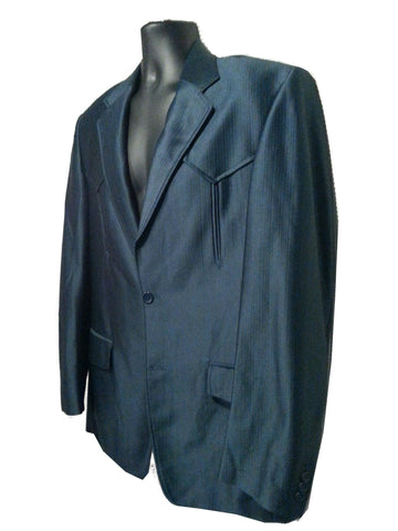 Blue Shark Skin Western Suit