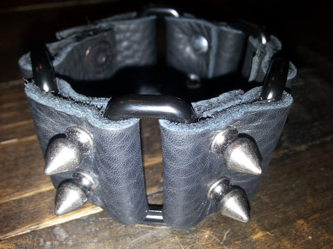 Leather Cuff - Black Rectangle & Spikes