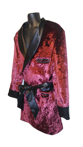 Royal Burgundy Velour with black satin collar