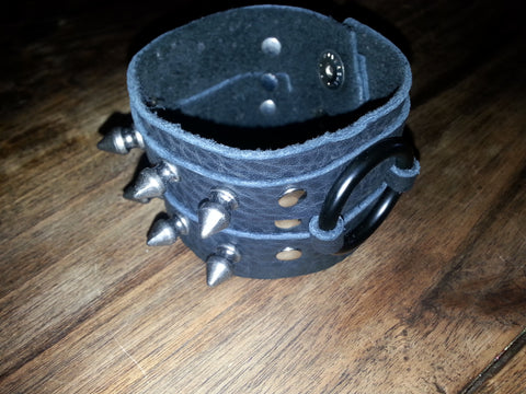 Leather Cuff - Double Black spike & Black rings