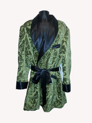Green Paisley Drape Smoking Robe