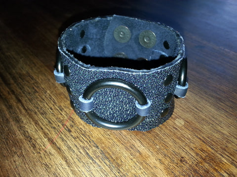 Leather Cuff - Black Stingray w/ Black