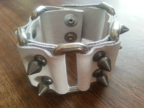 Leather Cuff - White Leather Nickle Spikes