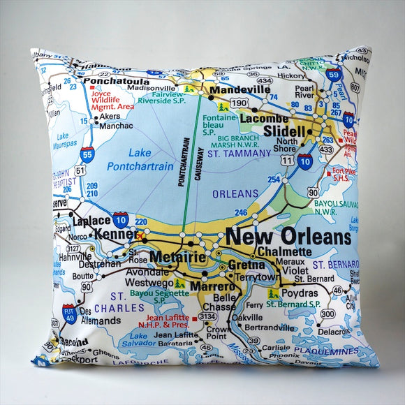 New Orleans Map Pillow Cover