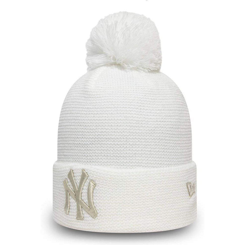 Wmns Bobble Cuff Knit New York Yankees Whi