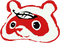 Kuki Tanuki logo. Red Japanese racoon with a leaf on its head.