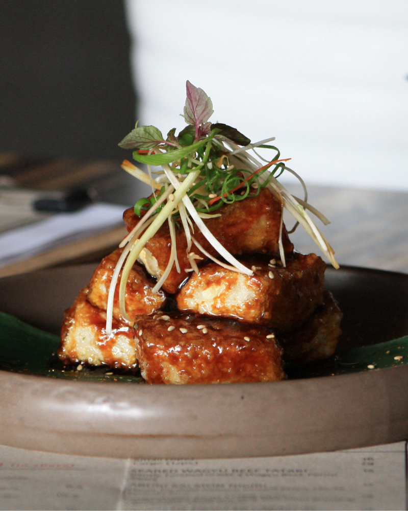 Plate of stacked golden fried tofu pieces topped with tare sauce, sliced leeks, shallots & sesame seeds