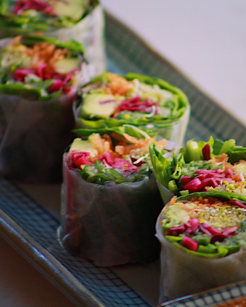 Rice paper roll pieces with pickled shiitake mushroom, avocado, cucumber, carrot, red cabbage & wasabi mayo (6pc)