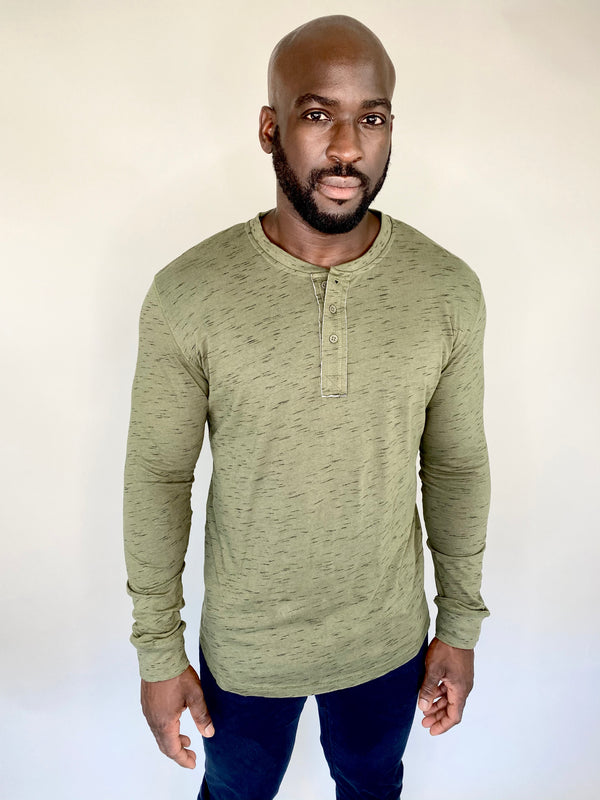 Marled Henley Shirt Long-Sleeve in Olive