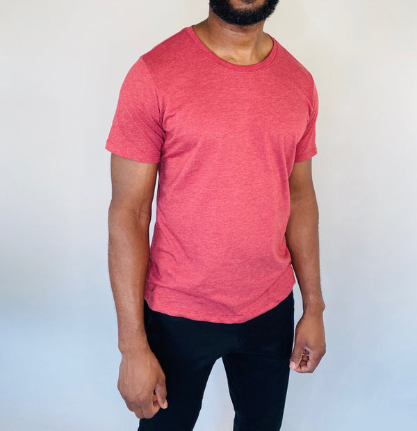 Crew-Neck Tee in Marled Red