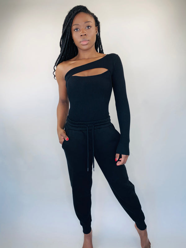 One Shoulder Bodysuit in Black