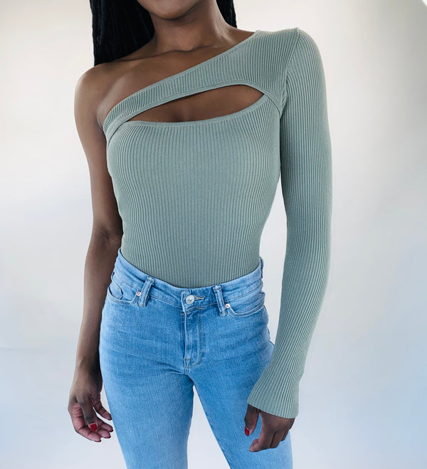 One Shoulder Bodysuit in Sage