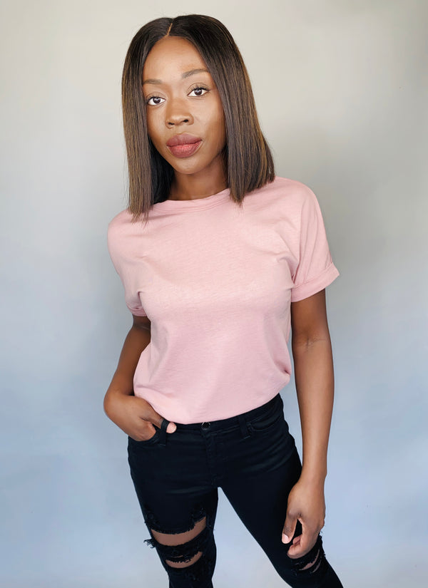Pre-Cuffed Basic T in Blush