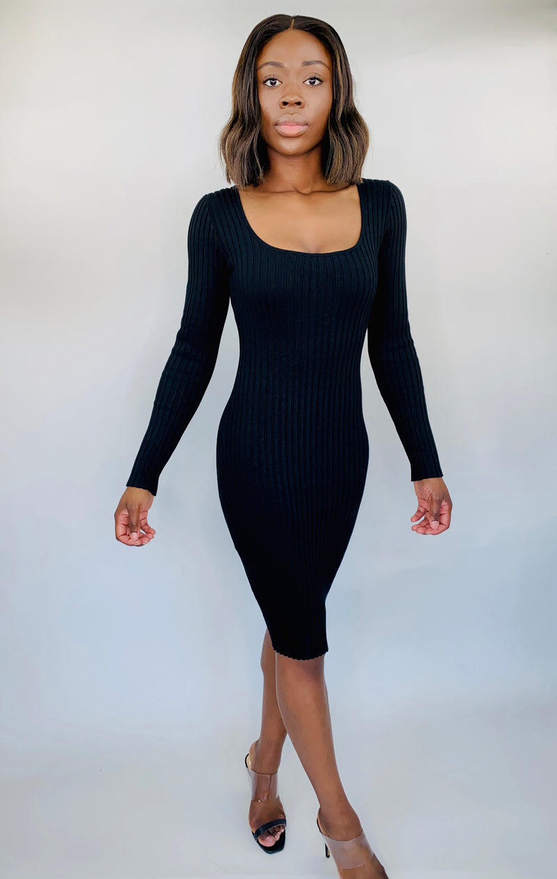 Ribbed Dress w/ Square Neck