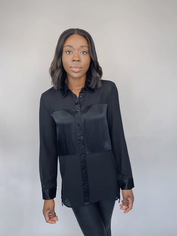 Sheer Black Blouse w/ Satin Accents