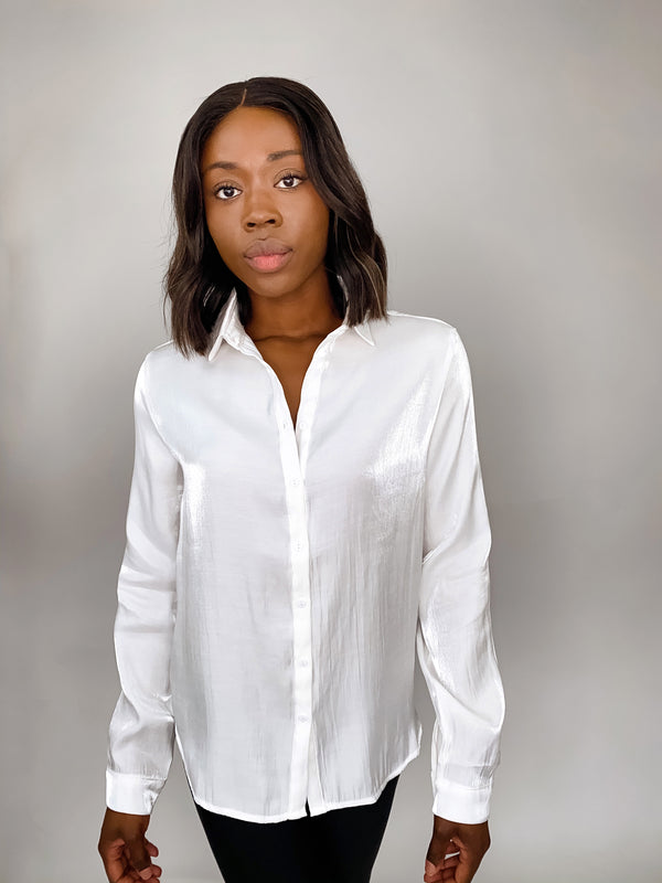 White Shimmer Button Down