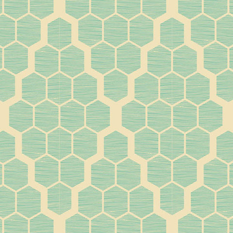 Joel Dewberry Bungalow Home Decor Sateen Hive, Mint - $16/yard