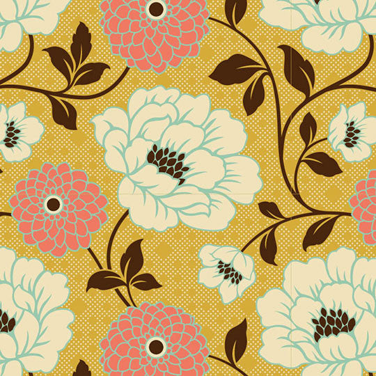 Joel Dewberry Bungalow Home Decor Sateen Dahlia, Honeysuckle - $16/yard
