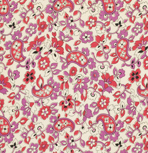 Denyse Schmidt Cotton Fine-Wale Corduroy, Paisley Red - $12/yard