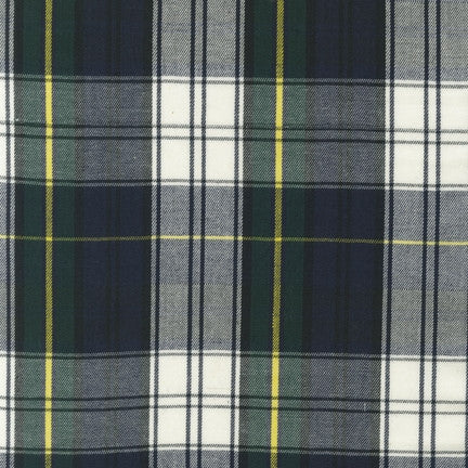 House of Wales Plaid by Robert Kaufman, Green/Blue/Cream - $12/yard