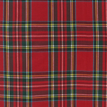 House of Wales Plaid by Robert Kaufman,Bright Red Multi - $12/yard