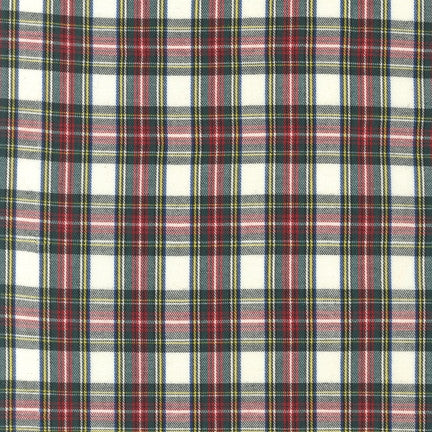 House of Wales Plaid by Robert Kaufman, Ivory - $12/yard