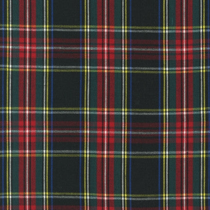 House of Wales Plaid by Robert Kaufman, Black & Red - $10.60/yard