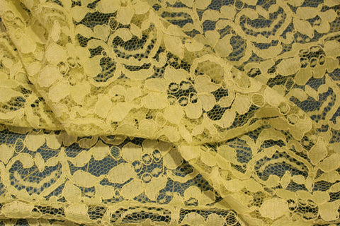 Corded Floral Swirl Lace in Sun Yellow - $7/Yard