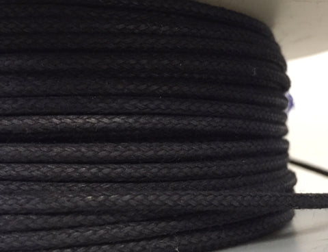 "Black ""leather look"" cording - $0.60/yd"