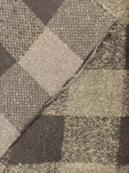 100% Wool Coating - Grey Check - $25/Yard