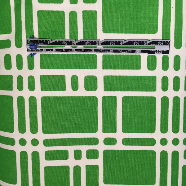 Lime Green and White 100% Cotton Canvas -- $16/Yard