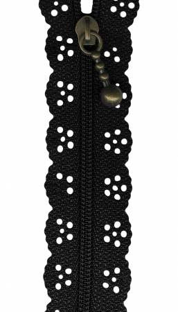10 inch Lace Zipper - Black