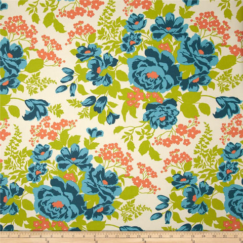 Joel Dewberry Home Decor Sateen Rose Bouque, Carrot - $16/yard