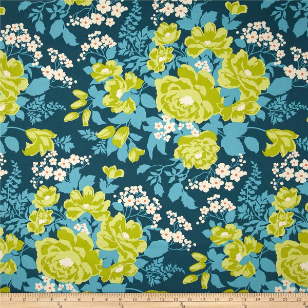 Joel Dewberry Home Decor Sateen Rose Bouque, Eucalyptus - $16/yard