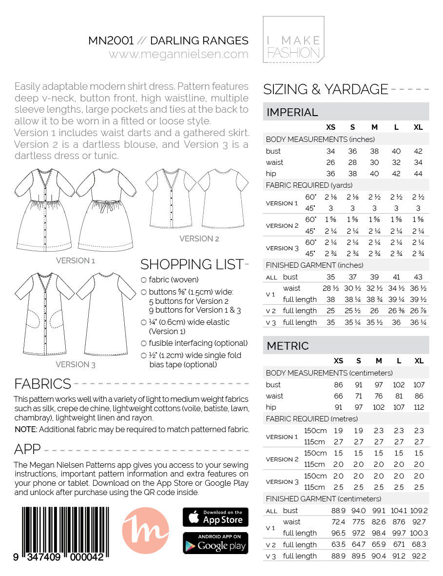 Megan Nielsen - Darling Ranges Dress Pattern