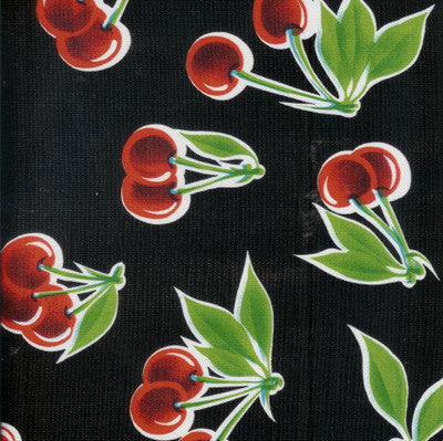 Traditional Oilcloth - Stella Cherries Black - $10/yard