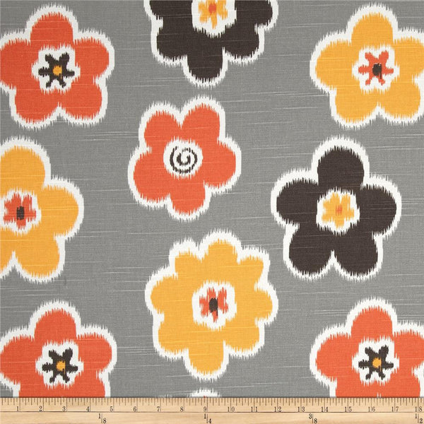Ikat Petals Home Decor Fabric, Grey and Orange - $15/yard