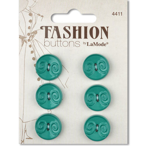 Fashion Buttons -Teal Swirls - 3/4""