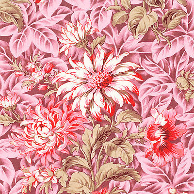 Verna Mosquera Cotton Voile, October Skies Foliage, Country Pink - $15/yard