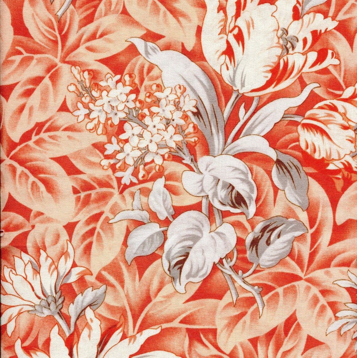 Verna Mosquera Cotton Voile, October Skies Foliage, Peach - $15/yard