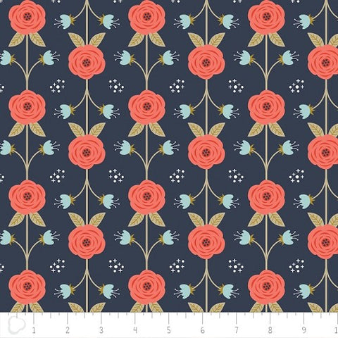 Camelot Fabrics Happy Thoughts - Vine in Dark Blue -- $12/Yard
