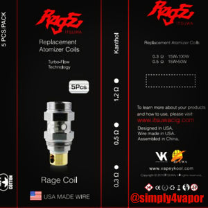 Rage Coils for the 3 in 1 Atomizer Tank 5 pack - SIMPLY 4 VAPOR
