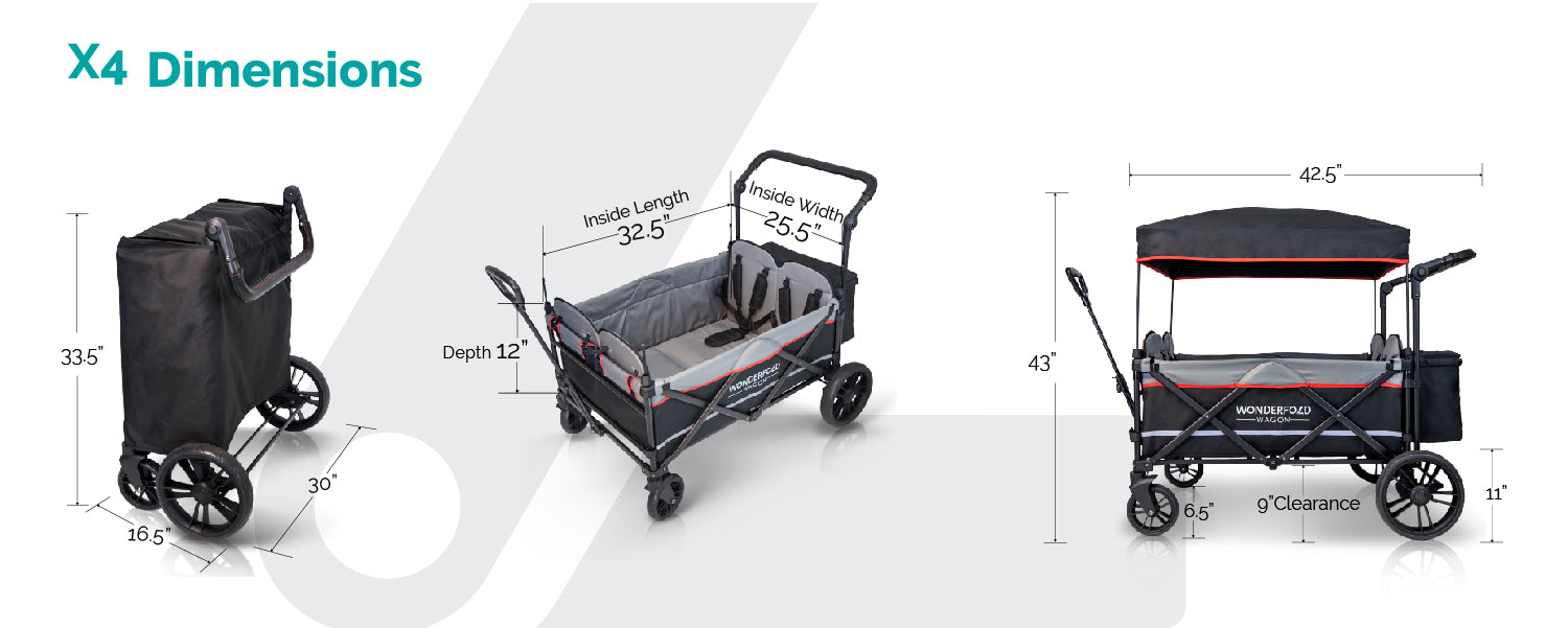 x4 stroller wagon dimensions quad 4 seater push and pull wagon fold