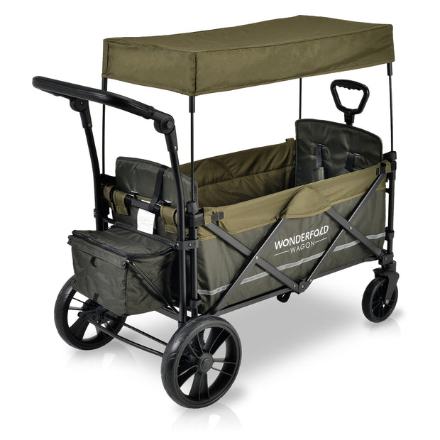X2 Woodland Green Pull & Push Double Stroller Wagon with Automatic Magnetic Seatbelt Buckles (2 Seater)