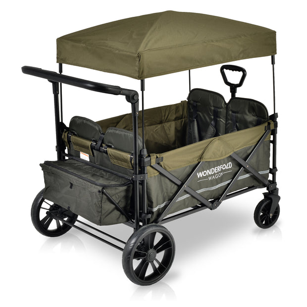 X4 Woodland Green Pull & Push Quad Stroller Wagon with Automatic Magnetic Seatbelt Buckles (4 Seater)