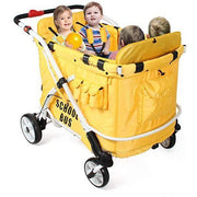 Multifunction Heavy Duty 4 Seater Quad Stroller Wagon (MJ06 School Bus)