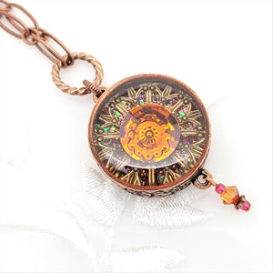 Antique Copper Astral Pink Ornate Kaleidoscope Pendant Necklace
