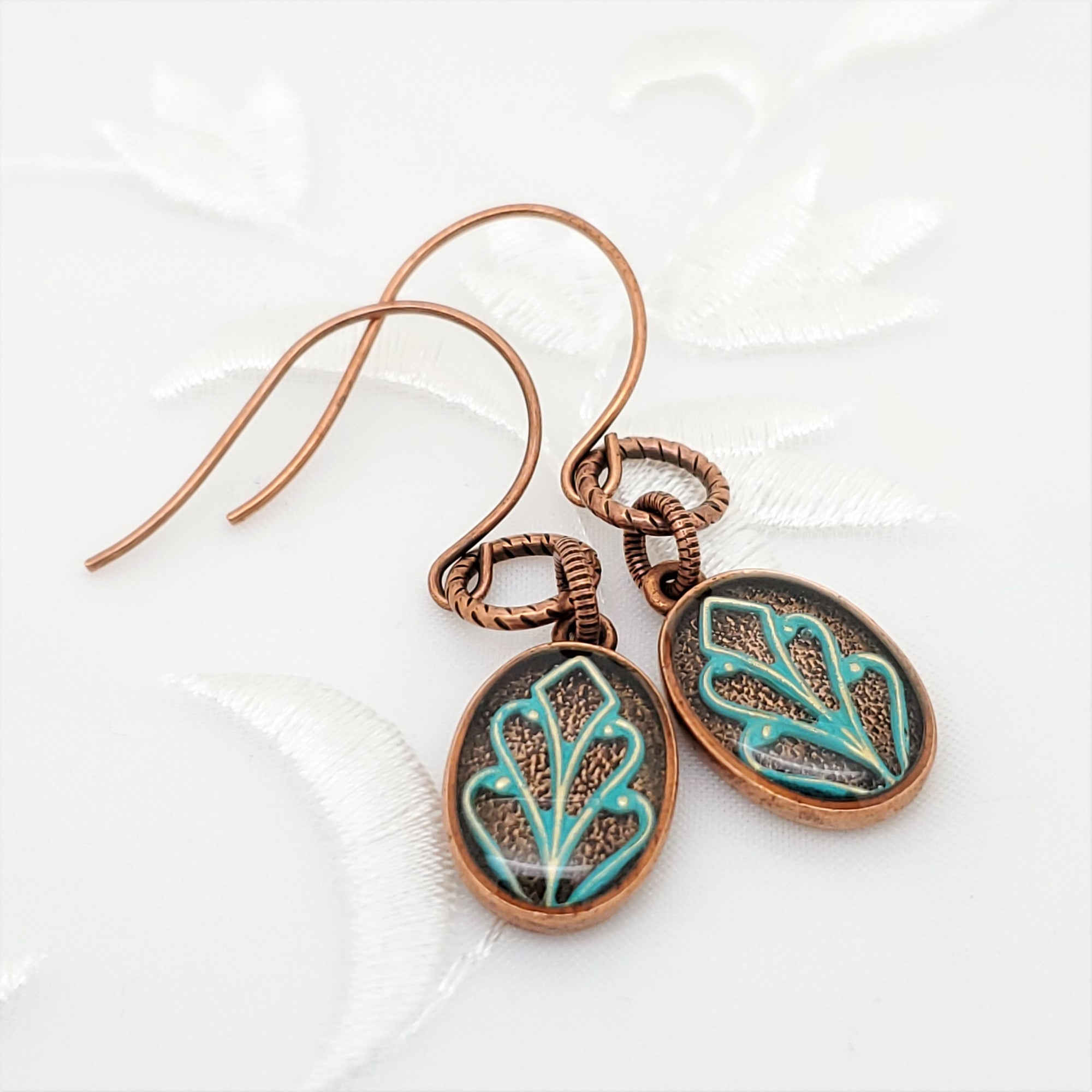 Antique Copper Oval Earrings with Patina Filigree