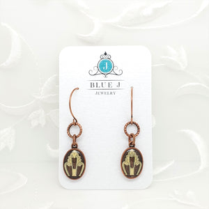 Antique Copper Oval Earrings with Yellow Filigree